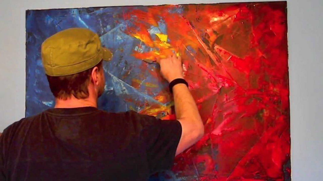 Acrylmalerei Spachteltechnik Abstrakt  Youtube von Acrylbilder Selber Malen Vorlagen Bild