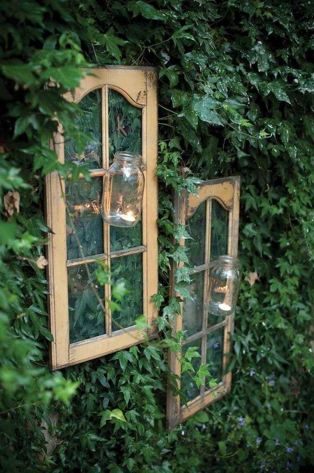 Alte Fenster Zur Dekoration Im Haus  50 Coole Ideen  Pinterest von Deko Ideen Mit Alten Fenstern Bild