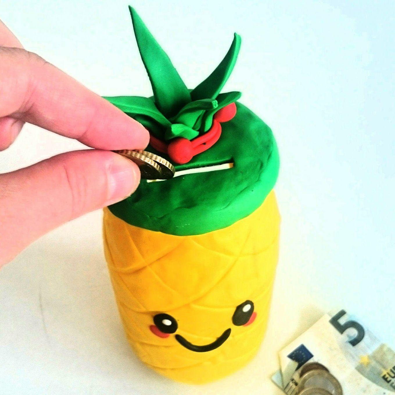 Ananas Spardose Mit Fimo Selber Machen  Saperlotteinfo von Große Spardose Selber Machen Bild