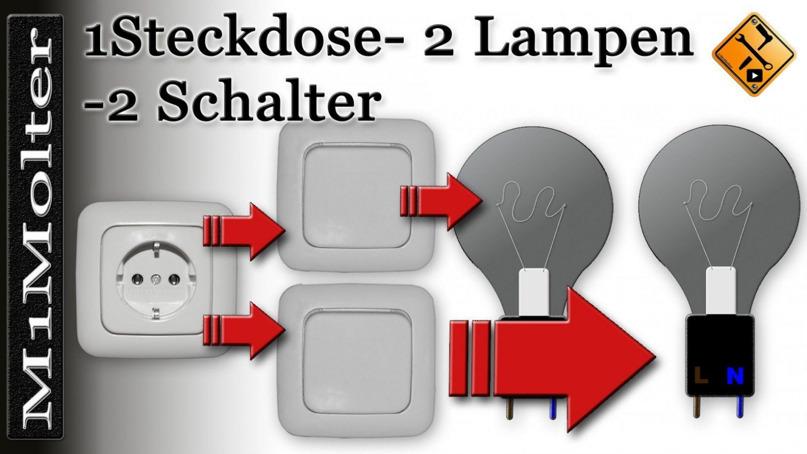 Anschluss  Steckdose U 2 Lampen + 2 Schalter Am Schaubild Von von Steckdose An Lichtschalter Anklemmen Photo