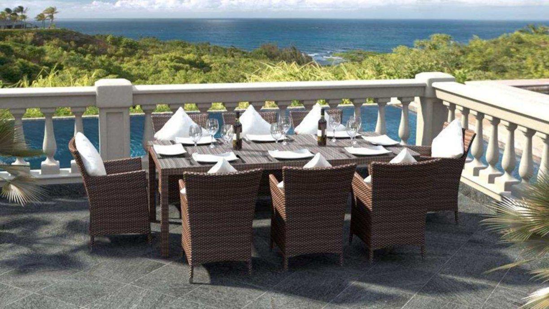 Artelia  Terrassen Esstisch Set Für 8 Personen Aus Polyrattan von Gartenmöbel Für 8 Personen Bild