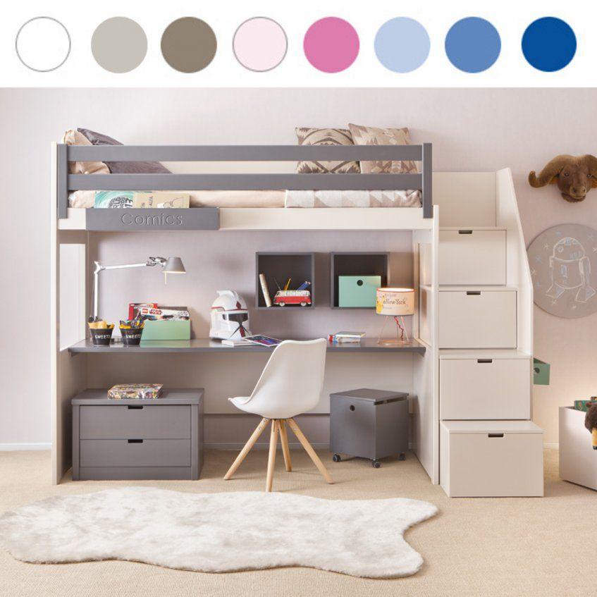 Asoral Hochbett Loft Xl Liso Mit Treppe Schreibtisch 4 Stauraum von Etagenbett Mit Stauraum Treppen Photo