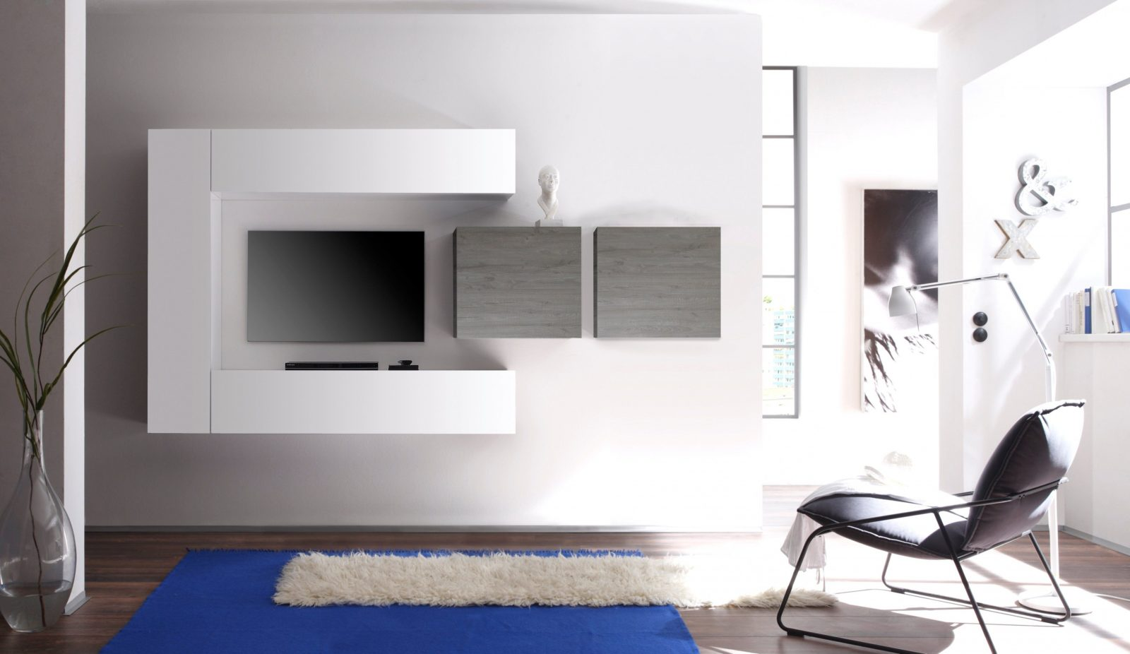 Ausgezeichnet Hängeschrank Wohnzimmer Weiß Hochglanz Einfach Millena ...