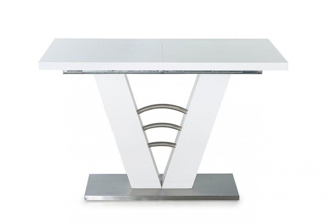 Ausziehbarer Esstisch 120 X 80 Cm In Hochglanz Weiß Fußplatte In von Esstisch 80 X 120 Photo