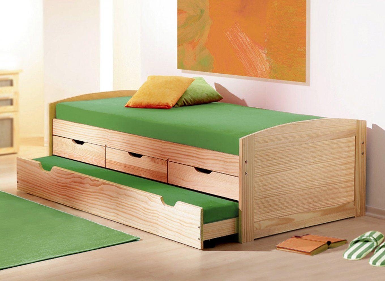 Ausziehbett In 90X200 Cm Aus Massivholz  Kinderbett Ben von Bett Mit Unterbett Zum Ausziehen Photo