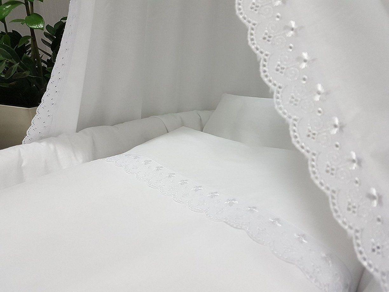 Baby Bettwäsche 2 Tlg Für Stubenwagen Wiege Romantic Weiss 80X80 von Weiße Bettwäsche Mit Spitze Photo