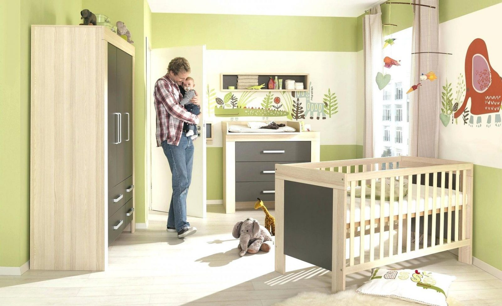 Baby Komplettzimmer 3 Teilig Mit Elefant Kinder Bett 120 60 von Baby Komplettzimmer 3 Teilig Bild