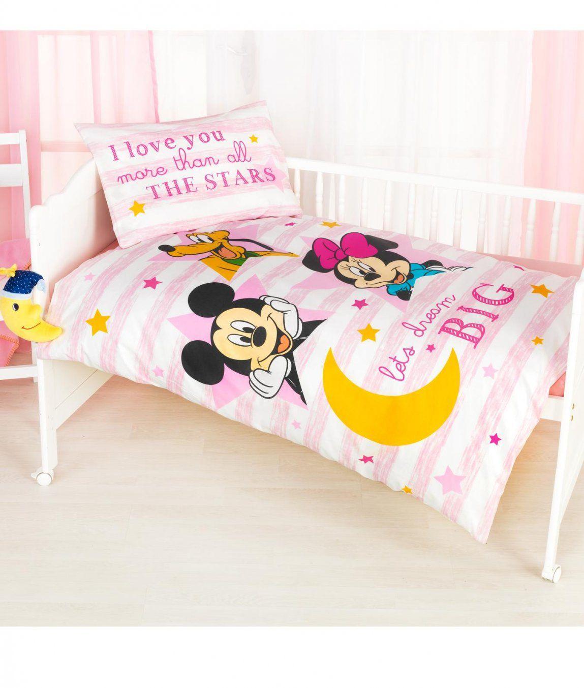 Babybettwäsche Garnitur Minnie Und Mickey Rosa Kaufen  Angela von Baby Bettwäsche Minnie Mouse Bild