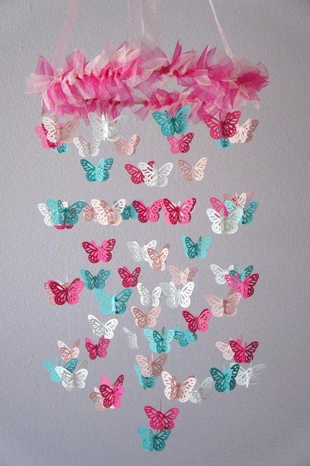 Babymobileselberbastelnpapierschmetterlingerosatuerkisweiss von Mobile Für Baby Basteln Photo