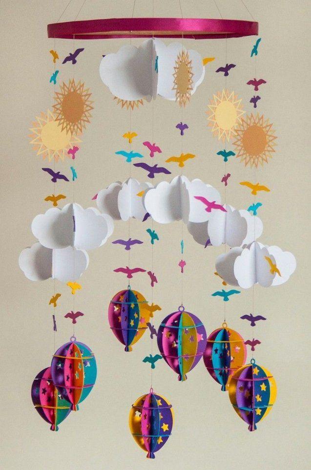 Babymobileselberbastelnpapierwolkenheissluftballonssonnen von Mobile Für Baby Basteln Photo