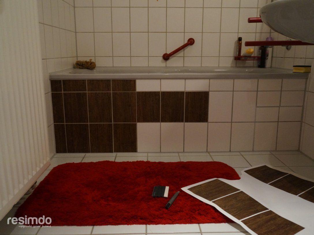 Bad Fliesen Ideen  Holzoptik  Braun  Resimdo von Selbstklebende Folie Fliesen Überkleben Photo