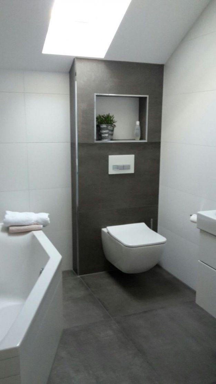 Badezimmer Anthrazit Weis Fliesen  Design von Bad Grau Weiß Gefliest Photo