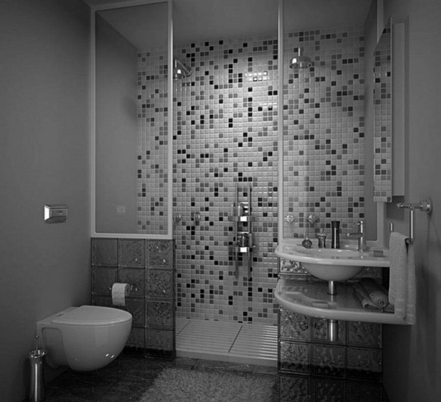 Badezimmer Blau Grau  Design von Mosaik Fliesen Bad Grau Photo