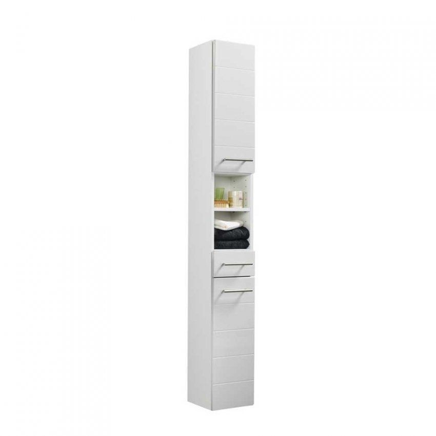 Badezimmer Hochschrank Veverino In Hochglanz Weiß Wohnen von Badezimmer Hochschrank Weiß Hochglanz Bild