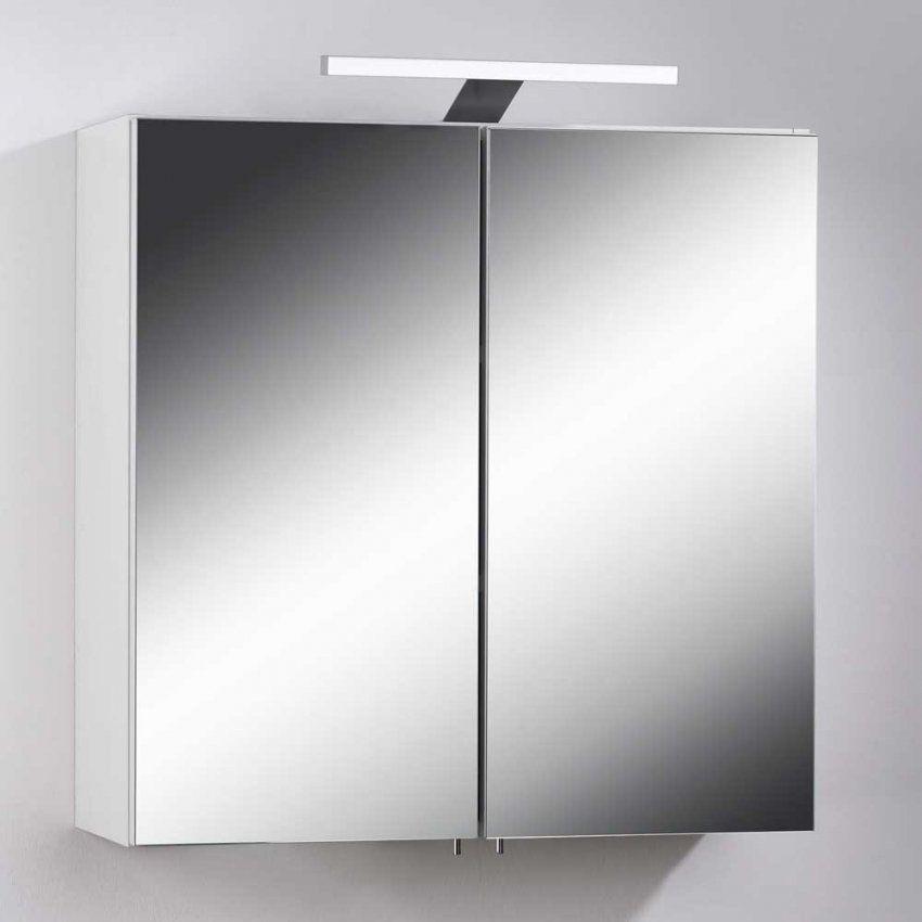 Badezimmer Spiegelschrank Malibu In Weiß  Pharao24 von Spiegelschränke Mit Led Beleuchtung Bild