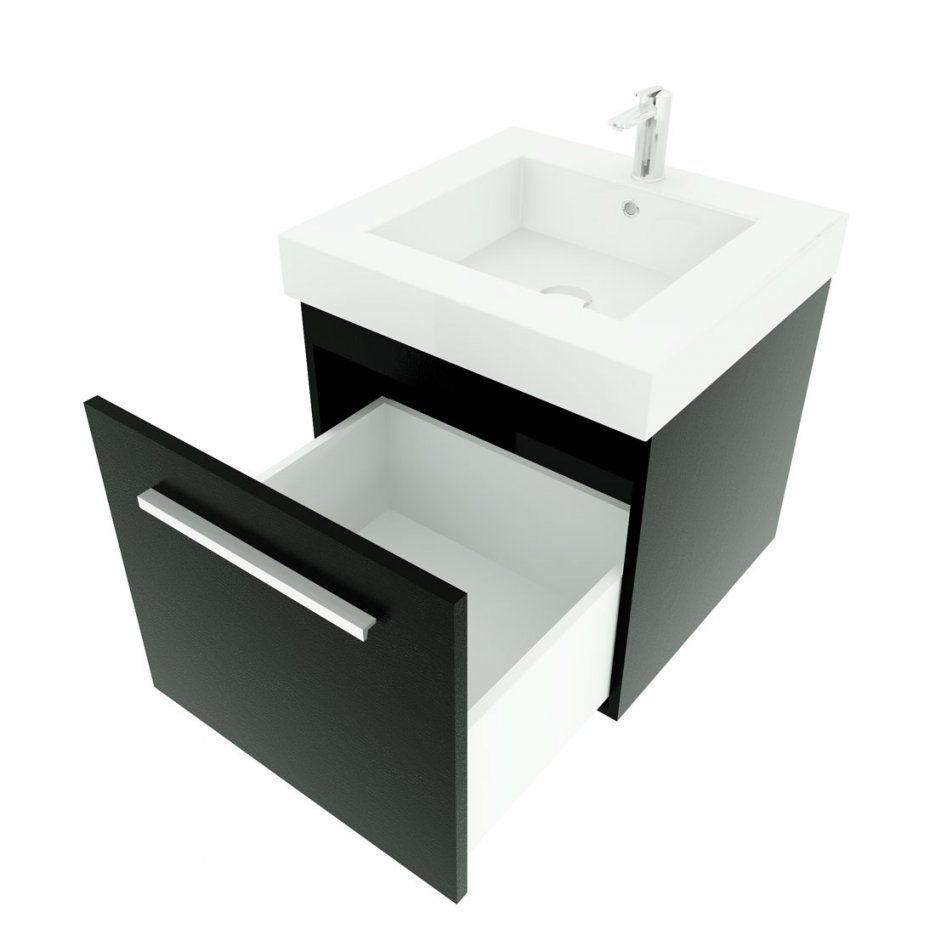 Badmöbel Set City 100 V5 Esche Schwarz Badezimmermöbel Waschtisch 50Cm von Waschtisch Mit Unterschrank 50 Cm Bild
