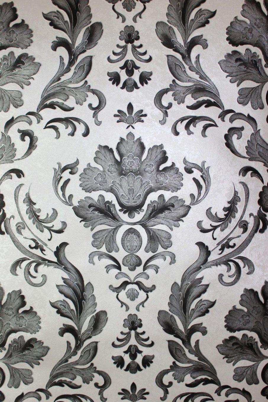 Barock Papier Präge Tapete Klassisches Ornament Schwarz Weiß Silber von Barock Tapete Schwarz Weiß Bild