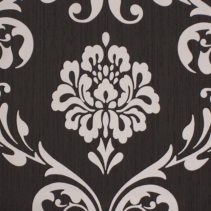 Barock Tapete Ornament Klassik Vliestapete Schwarz Metallic 1311070 von Barock Tapete Schwarz Weiß Bild