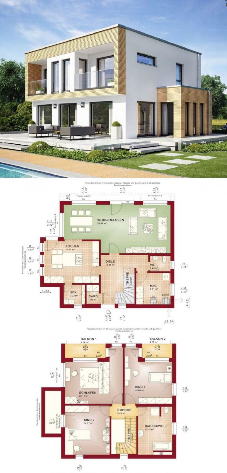 Bauhaus Stadtvilla Modern Mit Flachdach Und Erker Anbau von Bien Zenker Evolution 154 Bild