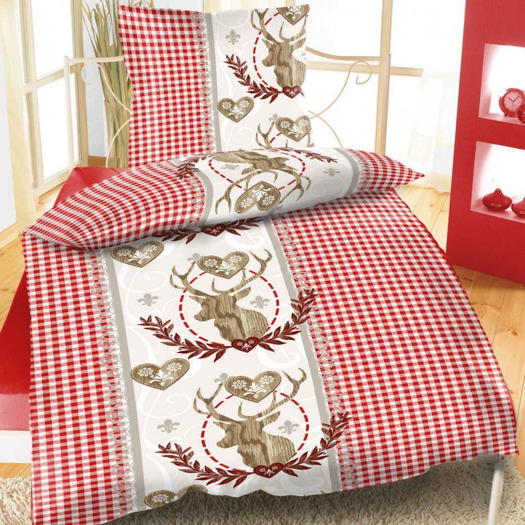 Baumwoll Biber Bettwäsche 135X200 2 Tlg Weihnachten Kariert Rentier von Bettwäsche Rot Weiß Kariert Bild