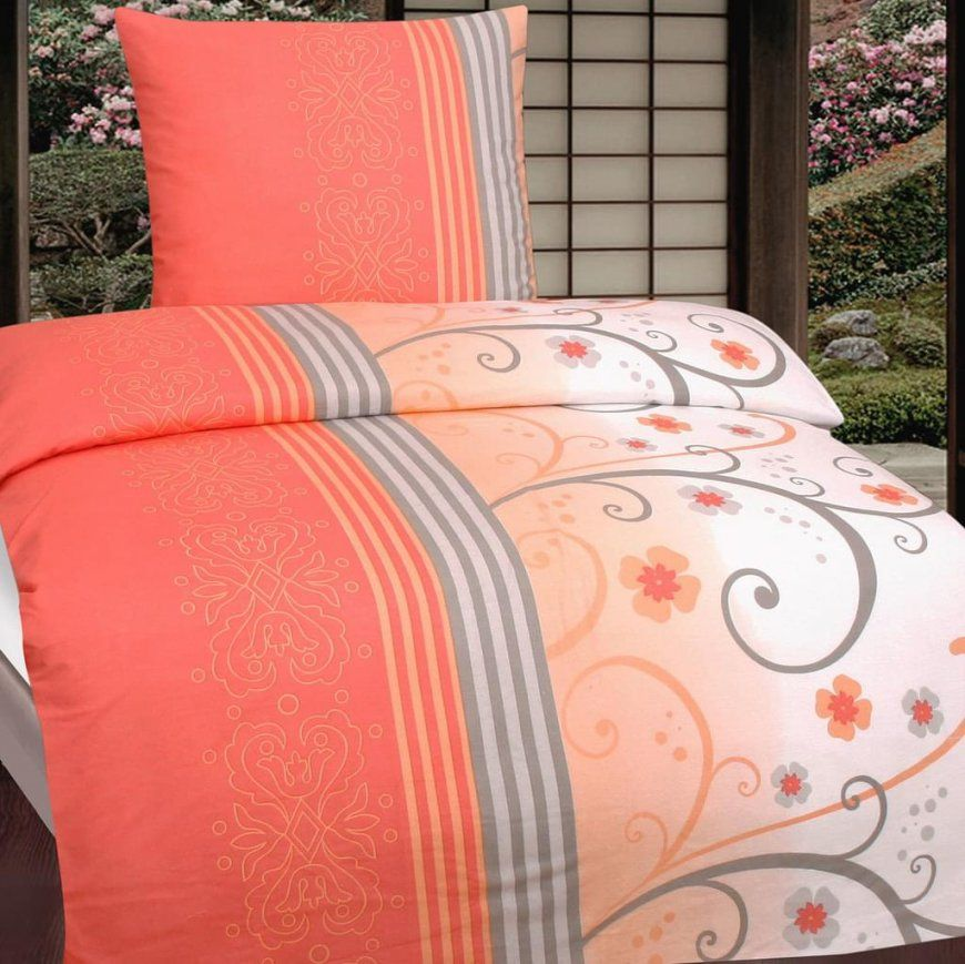 Baumwoll Biber Bettwäsche 135X200 + 80X80Cm 100%  Real von Biber Bettwäsche Orange Bild
