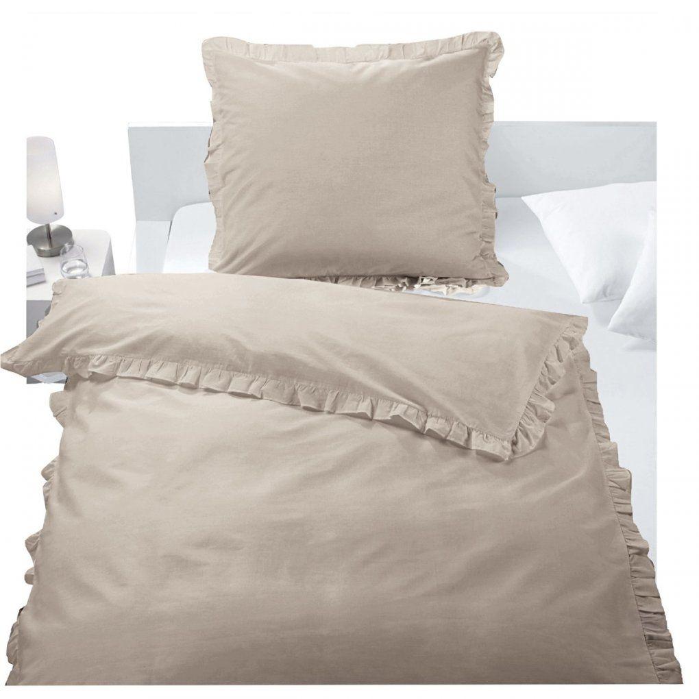 Baumwollbettwäsche Rüschen Taupe  Möbel Boss von Bettwäsche Weiß Rüschen Photo
