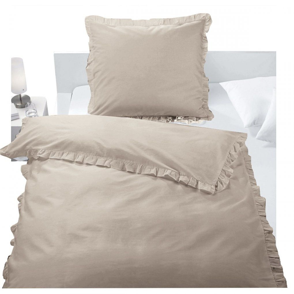 Baumwollbettwäsche Rüschen Taupe  Möbel Boss von Weiße Bettwäsche Mit Rüschen Bild