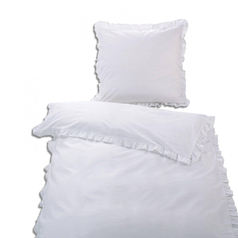 Baumwollbettwäsche  Weiß  Rüsche  135X200 Cm  Bettwäsche von Weiße Bettwäsche Mit Rüschen Bild