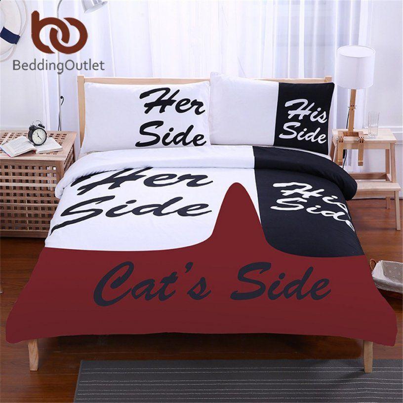 Beddingoutlet Schwarz Und Weiß Bettwäsche Set Seiner Seite Sie Von