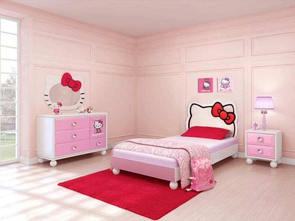 Bedroompink Hello Kitty Themed Of Single Bed Frame Dresser Bedroom von Hello Kitty Bed Frame Photo