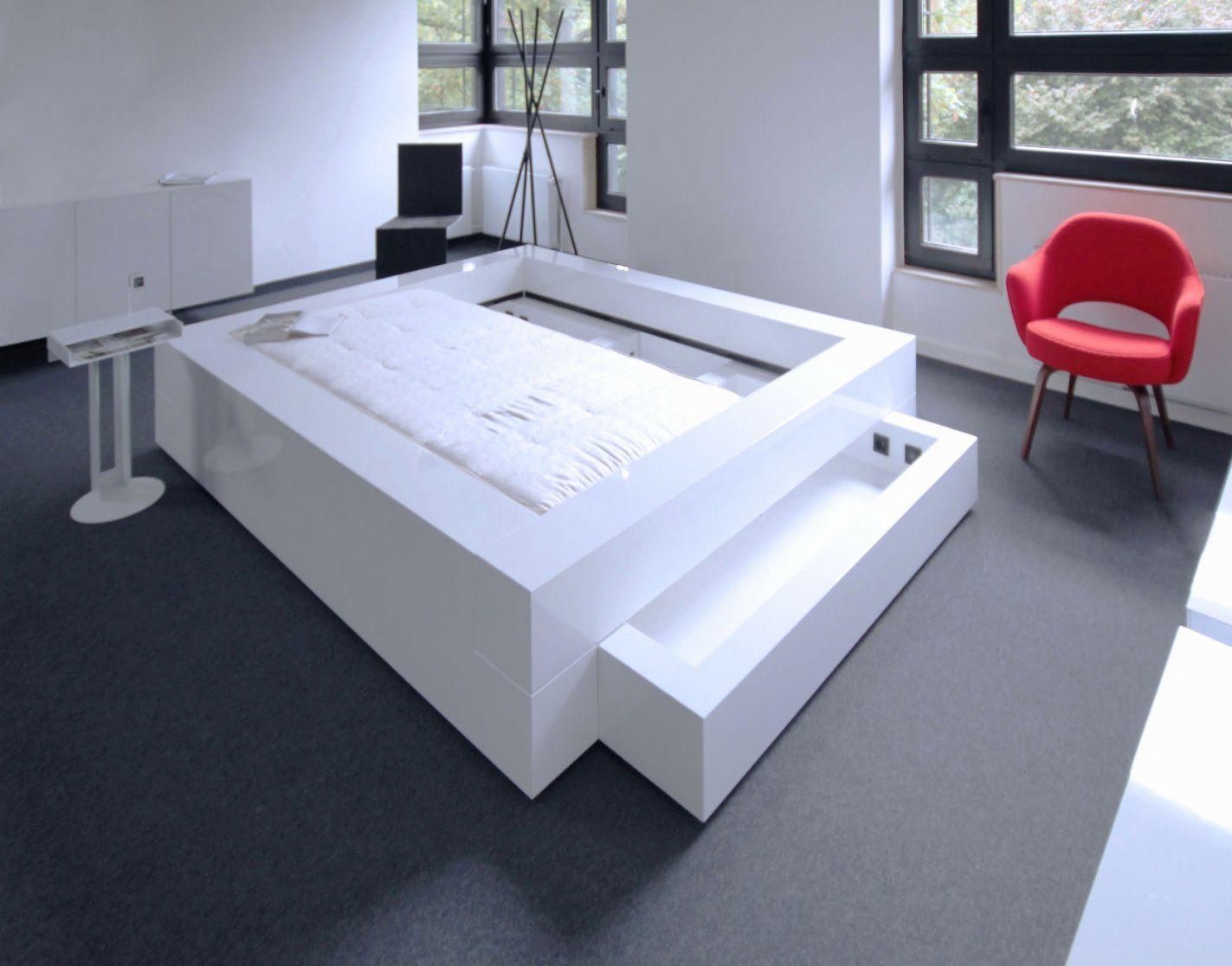 Hochglanz Bett Weiß 140X200