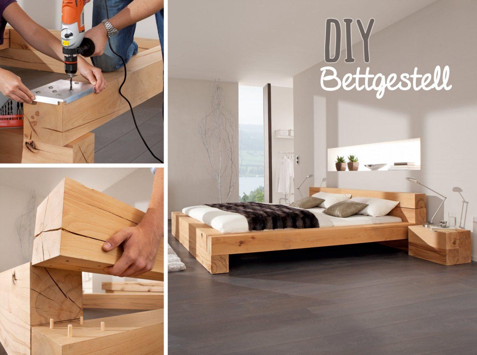 Bett Aus Alten Holzbalken Holzpaletten Bauen Selber 180X200 Holz von Bett Aus Holz Bauen Bild