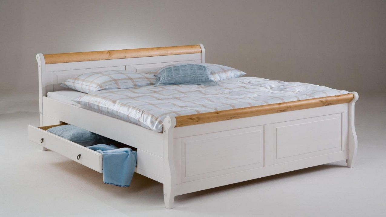 Bett Malta Kiefer Massiv Weiß Antik 180X200 Mit Schubkasten von Doppelbett Kiefer Massiv 180X200 Bild