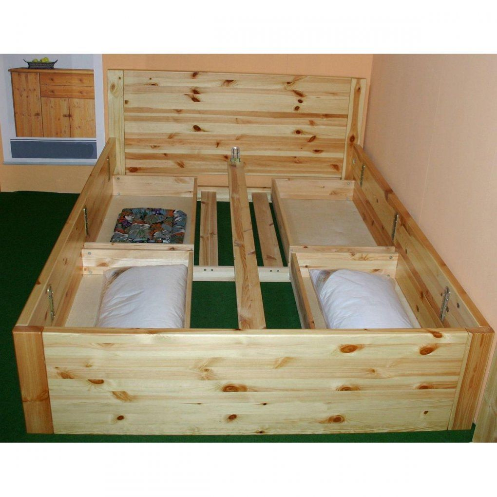 Bett Mit Schubladen 140X200 Rauna Xl  Holz Kiefer Massiv Weiß Lasiert von Bett 140X200 Kiefer Massiv Bild