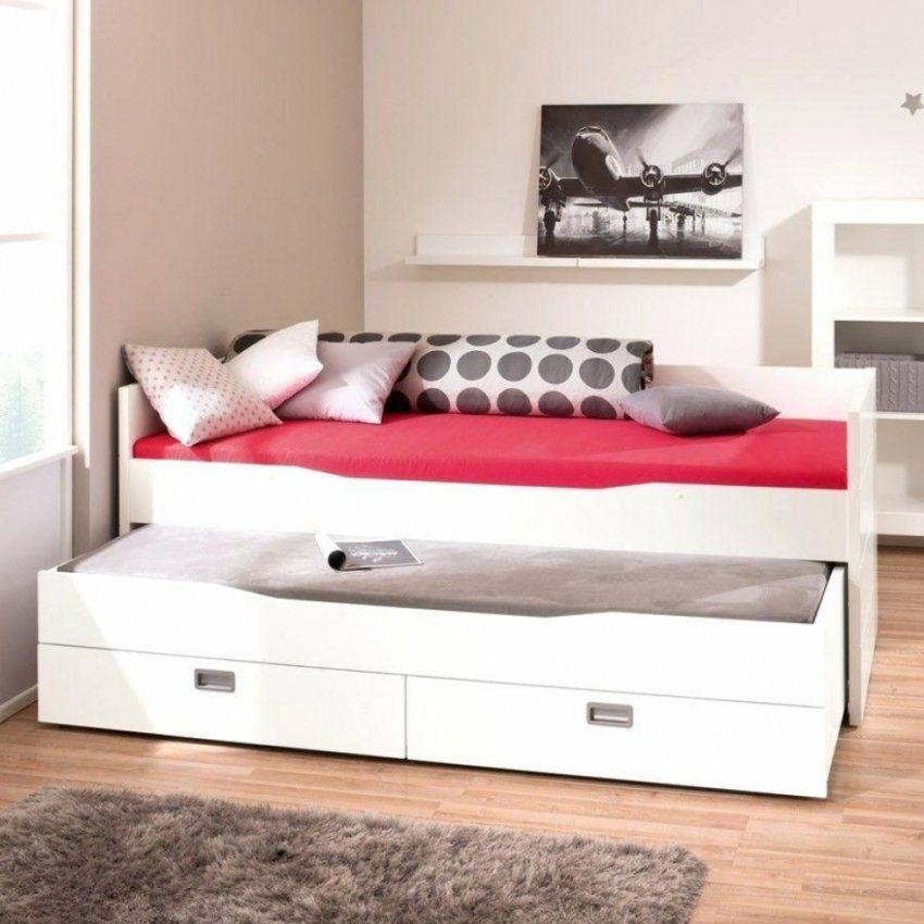 Bett Mit Unterbett Weiss Für Haushalt – Ambernight von Bett Mit Unterbett Zum Ausziehen Bild