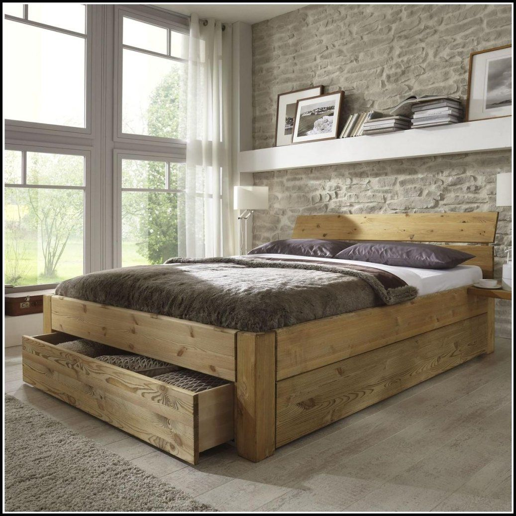 Bett Selber Bauen Ohne Lattenrost Mit 140X200 Holz Dunkel Bettkasten von Lattenrost 140X200 Selber Bauen Bild