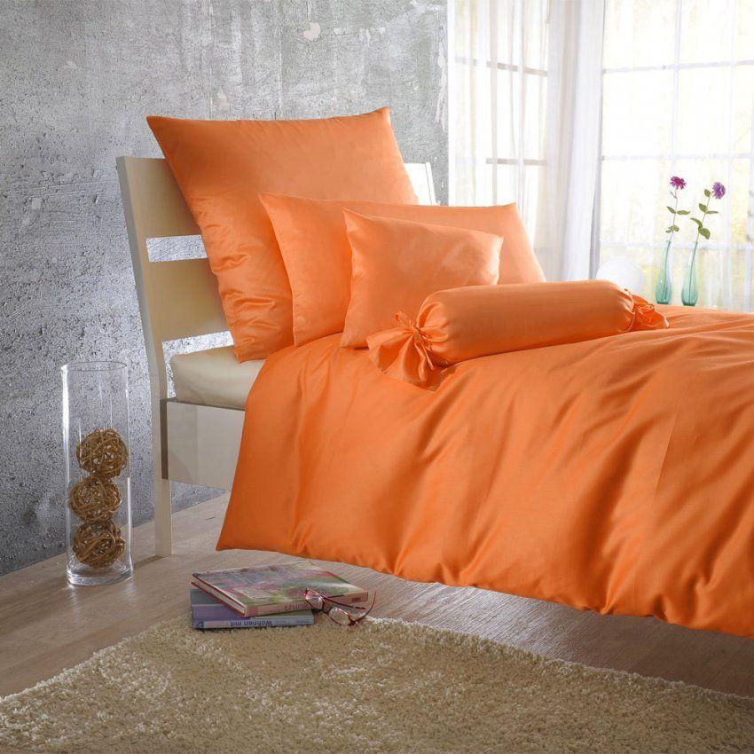 Bettwarenshop Uni Makosatin Bettwäsche Orange Günstig Online Kaufen von Biber Bettwäsche Orange Photo