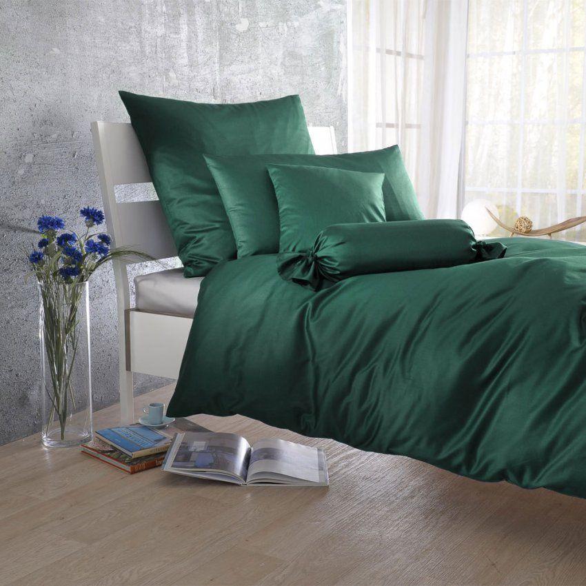 Bettwarenshop Uni Makosatin Bettwäsche Tannen Günstig Online Kaufen von Satin Bettwäsche Grün Photo