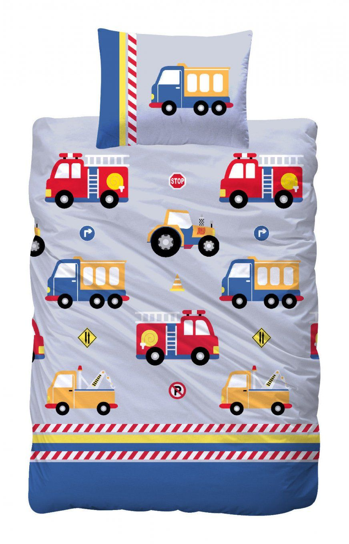 Bettwäsche 100X135 Cm Baumwolle Kinder Jungen Feuerwehrauto Auto von Traktor Bettwäsche 100X135 Bild