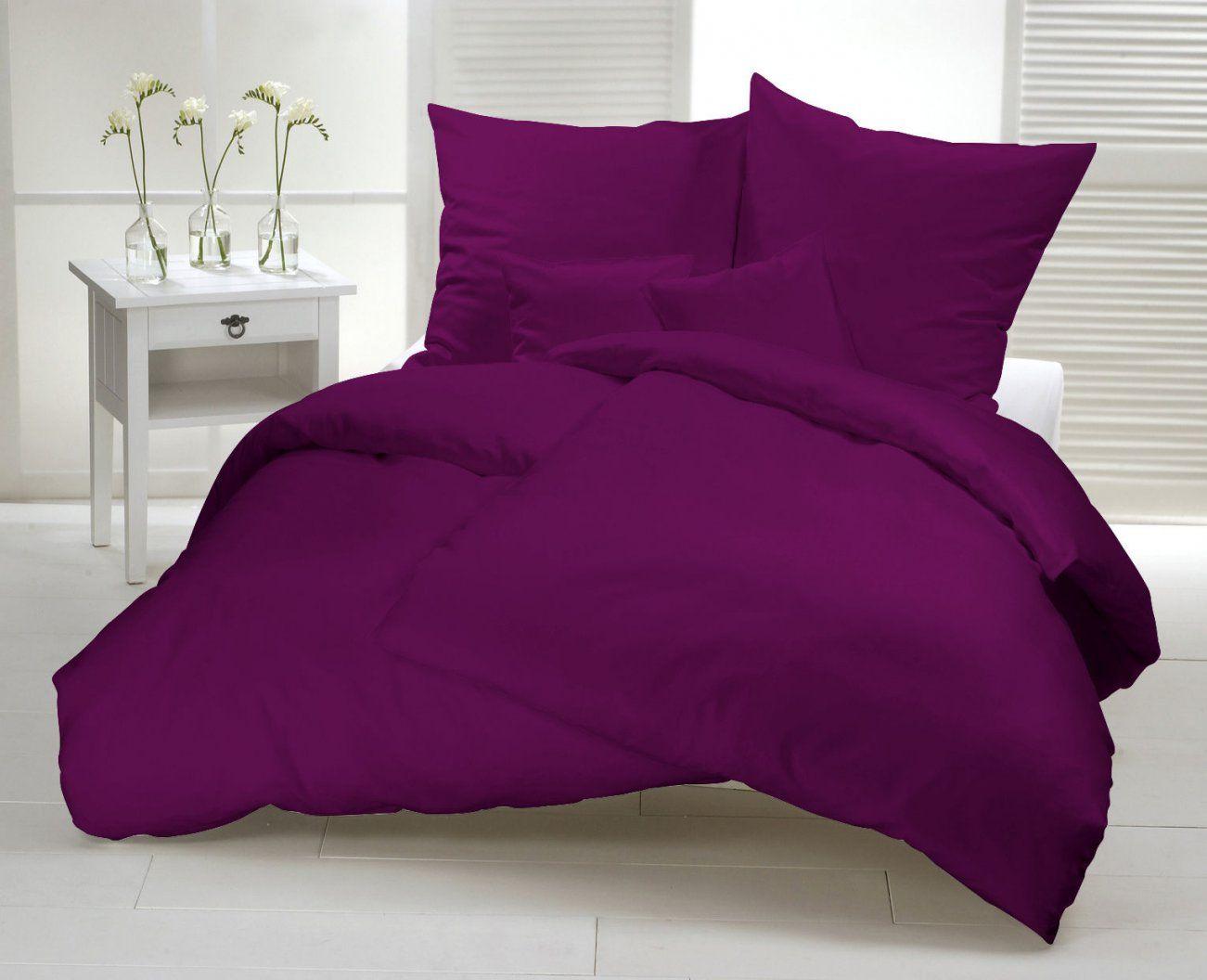 Bettwäsche 135 X 200 Lila Uni Mako Satin Pflaume Baumwolle Einfarbig von Bettwäsche Lila Uni Bild