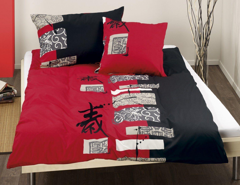 Bettwäsche Chinesische Schriftzeichen Schwarzrot ⋆ Lehner Versand von Bettwäsche Japanische Motive Bild