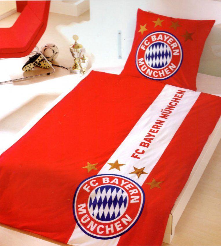 Bettwäsche Fc Bayern München Logo  155 X 220 Cm  Rot Streifen von Fc Bayern Bettwäsche 155X220 Bild