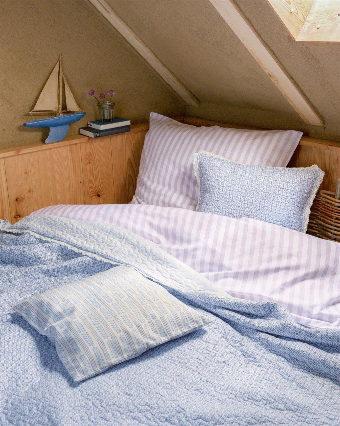 Bettwäsche Feine Lila Streifen von Bettwäsche Weiß Spitze Photo
