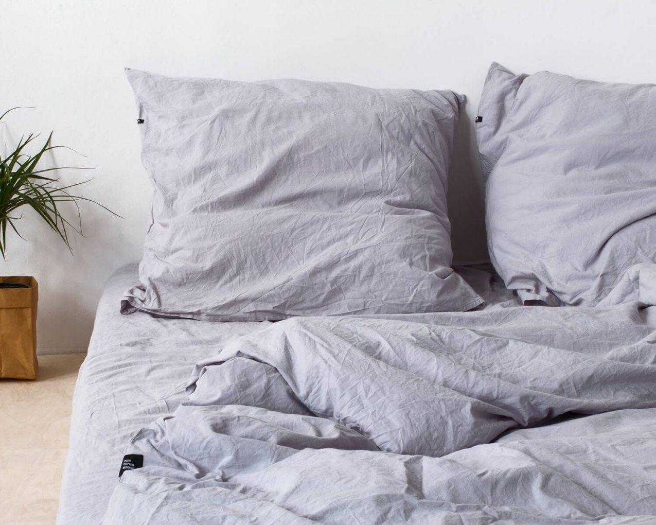 Bettwäsche Grau Pure Aus Natürlicher Perkal Baumwolle von Bettwäsche 220X240 Grau Photo