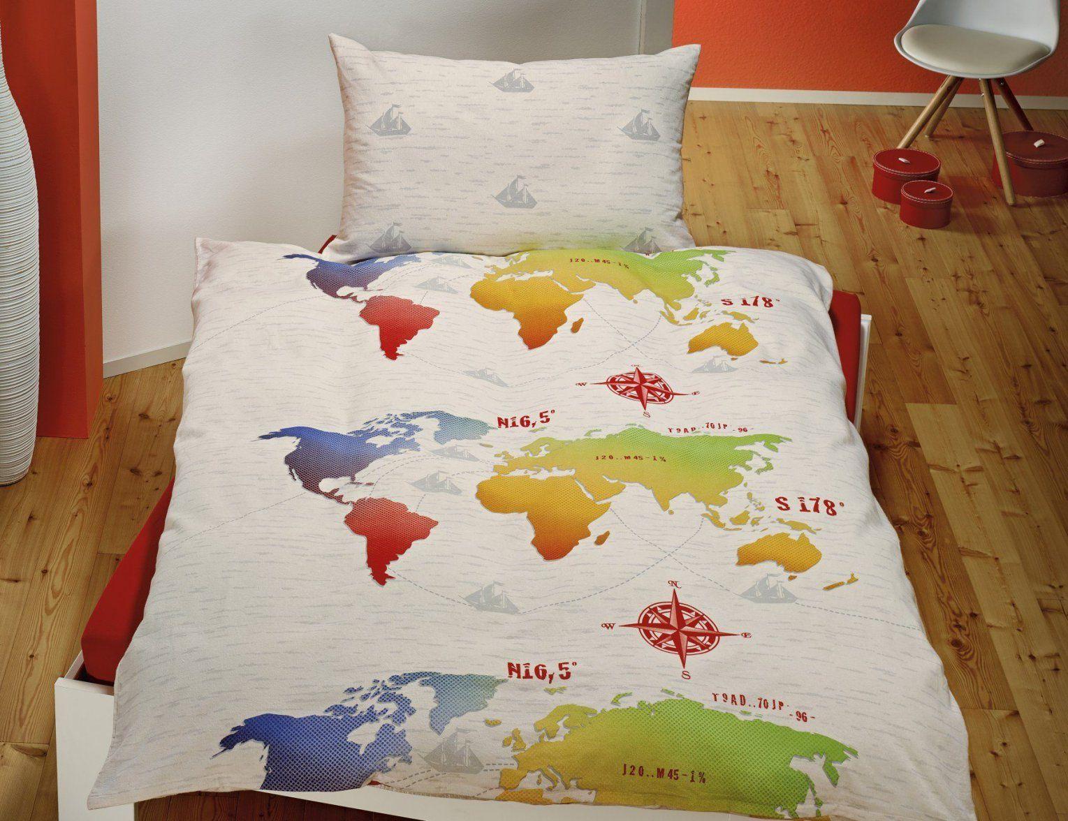 Bettwasche Kariert Dekor Bettwäsche Weltkarte Haus Design Von