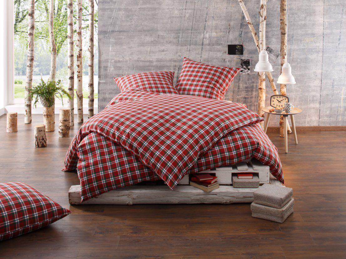 Bettwäsche Karo Flanell Landhaus Toronto Rot Online Kaufen  Bms von Bettwäsche Grün Kariert Bild