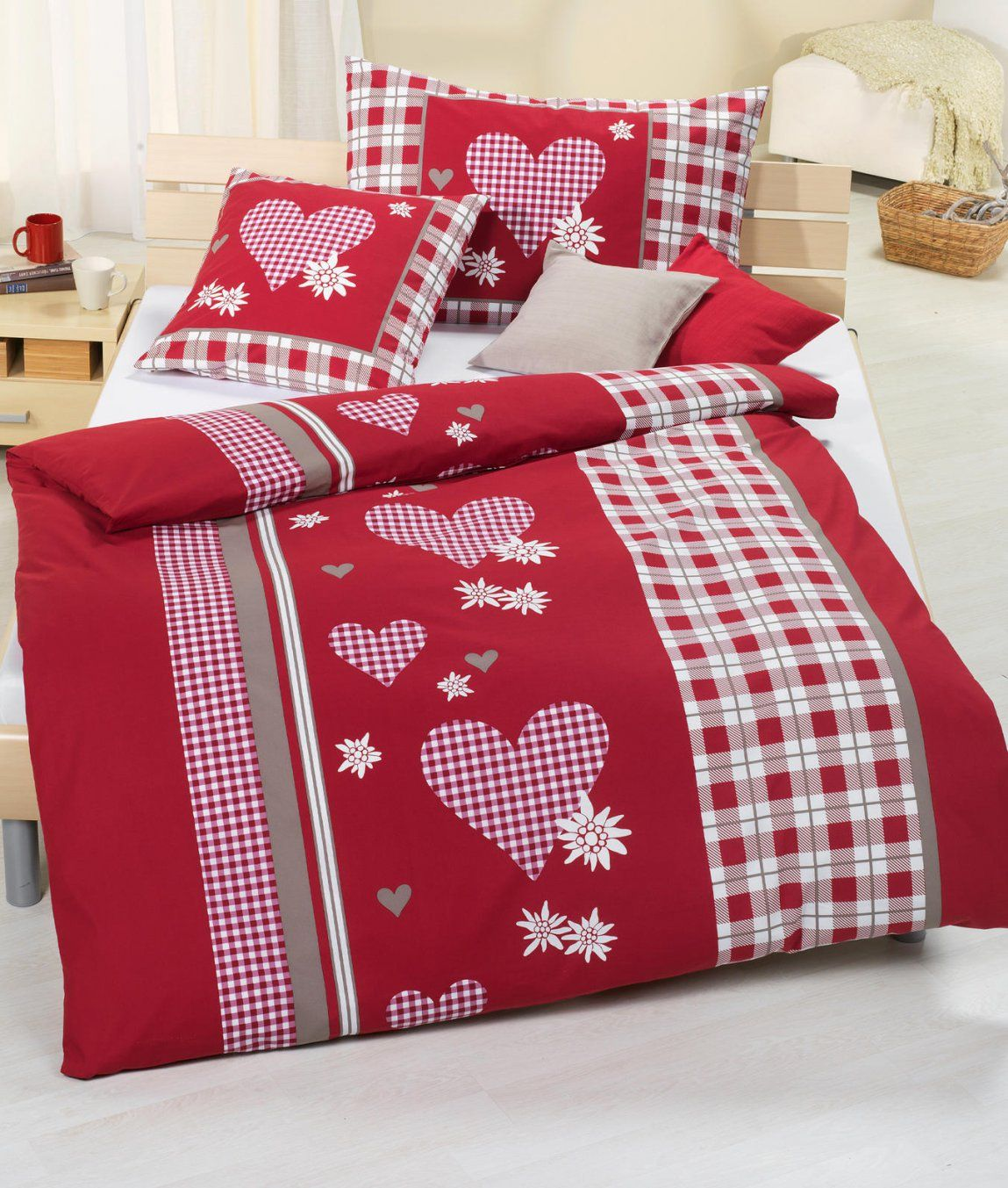 Bettwäsche Säntis Rot Baumwolle Renforcé Kaufen  Angela Bruderer von Bettwäsche Rot Weiß Kariert Photo