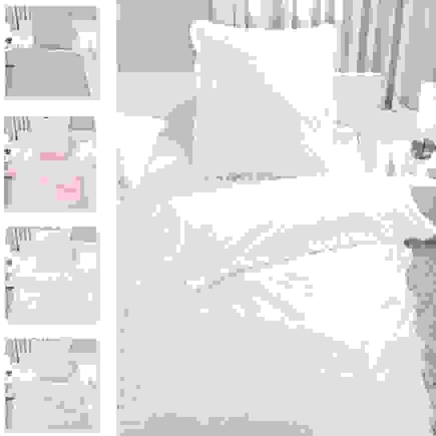 Bettwäsche Set Rüschen 100% Baumwolle Reißverschluss Romantik von Rüschen Bettwäsche Weiß Bild