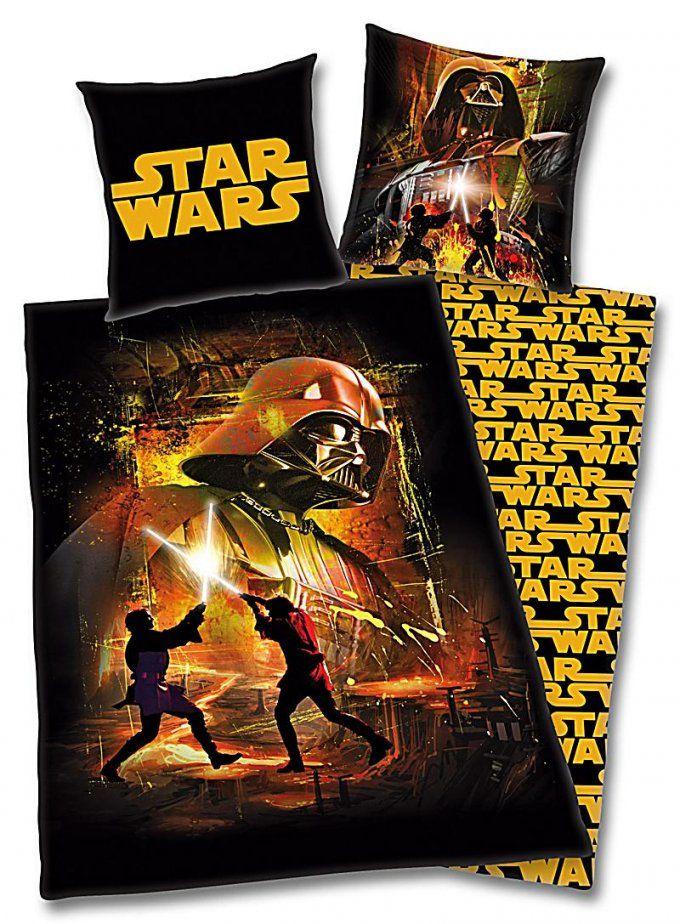 Bettwäsche Star Wars Linon Schwarz Gelb 135 X 200 Cm  Weltbild von Star Wars Bettwäsche 155X220 Bild