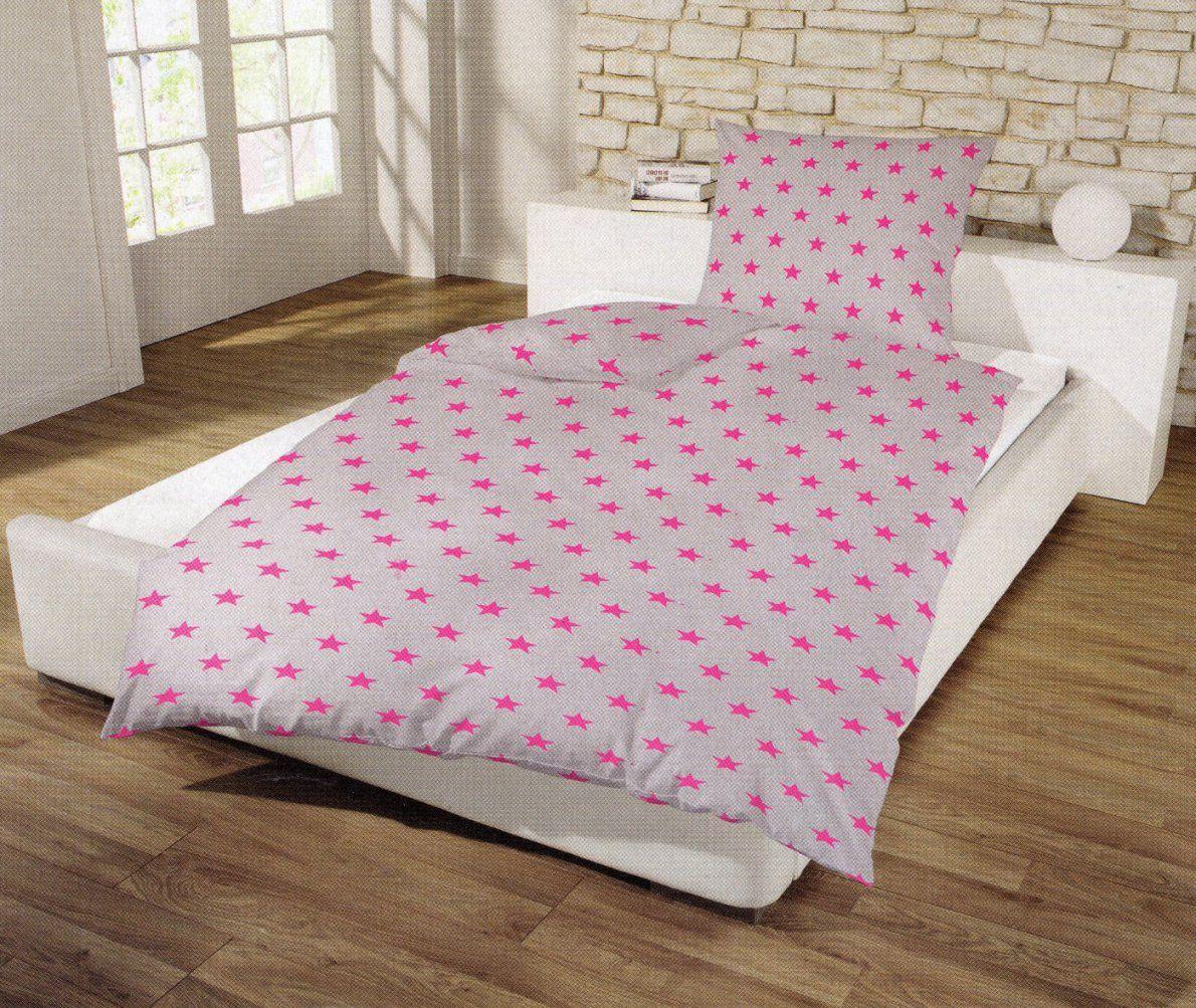 Bettwäsche Sterne Grau  Pink  155 X 220 Cm  Baumwolle Renforcé von Bettwäsche Sterne Grau 155X220 Bild
